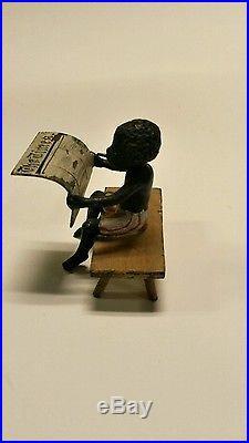 ANTIQUE BLACK AMERICANA! BLACK BOY ON BENCH READING THE TIMES 1860's
