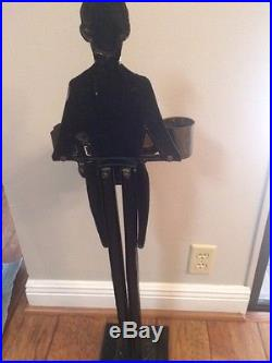 Antique Black Americana Cast Iron Old Butler Statue Smoking Stand