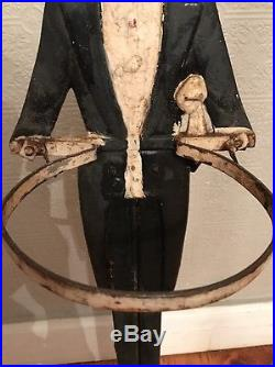 Antique Black Americana Cast Iron Statue Smoking Stand Old Butler Ashtray 35