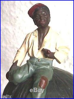 ANTIQUE BLACK AMERICANA TOBACCO JAR AUSTRIA ART POTTERY by JOHANN MARESCH