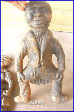 Antique Cast Iron Figural Black Americana Andirons Aunt Jemima Mammy & Mose