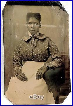 ANTIQUE TINTYPE PHOTOGRAPH BLACK WOMAN WHITE SKIRT PRINT TOP ESTATE