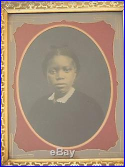 ANTIQUE VICTORIAN FRAMED WHOLE PLATE TINTYPE PHOTOGRAPH of a WEALTHY BLACK WOMAN