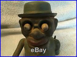 ANTIQUE/VINTAGE CAST IRON BLACK AMERICANA JOLLY N ER BANK Mechanical Eye Move