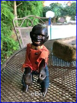 ANTIQUE ives Cast Iron and Wood black man mechanical figure late 1800s