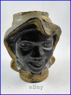 ANtique Cast Iron Black Americana Two Faced Boy Still Bank Victorian 3 Vintage