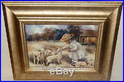 African American Girl Feeding Sheeps Giclee On Canvas Laid On Board Painting