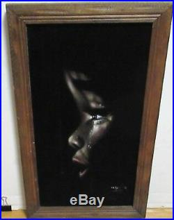 African American Girl With Tears Velvet Painting Signed