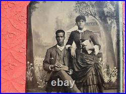 African American Tintype 1/6 Plate Young Black Couple Accomplished Hat Tie 1800s