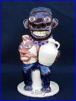 Albert Hodge Black Man on Stump 2 Face Jugs North Carolina Pottery Catawba N C