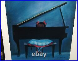 Alice Patrick African American Girl Playing A Piano Hand Signed Lithograph