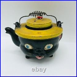Americana Redware Teapot Black Cat Yellow Hat Japan Norcrest Wire Handle Ceramic