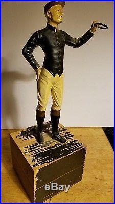 Americana Spelter Lawn Jockey Rare White Version Original Paint Navy Gold