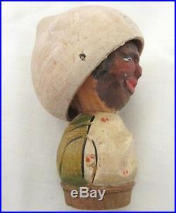 Anri Two Faced Hat Flipper Carved Wood Bottle Stopper Vintage Black Americana