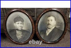 Ant/VTG pair of African American Black Americana Man&Woman Oval Framed Portraits