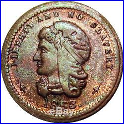 Anti Slavery No Traitors 1863 Patriotic Civil War token NGC MS65 Ex. Tanenbaum
