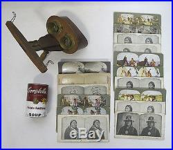 Antique (16) NATIVE AMERICAN INDIAN Stereoview Cards & Stereo-Graphoscope #2 yqz