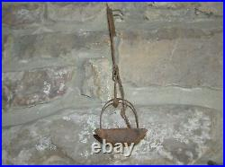 Antique 1700's Hand Wrought Iron Square Cruise Pan Betty Light Whale Oil Fat