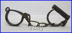 Antique 1800's Wrought Iron Leg Cuffs Adult/Child Ankle Slave Shackles Chain yqz