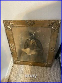 Antique 1800s African American Lady Portrait in Frame & Glass