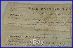 Antique 1828 Velum John Adams US Land Grant Free Persons of Color American Seal