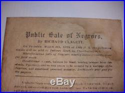 Antique 1833 Slave Auction Broadside poster Richard Clagett SC Black Americana