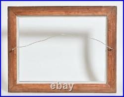 Antique 1850 American Black painted Folk Art wooden picture frame