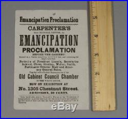 Antique 1864 Handbill Exhibition Broadside Emancipation Proclamation Painting