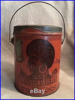 Antique 1878 BLACK AMERICANA N HAIR Bigger Smoking Tobacco TIN Can withLid