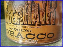 Antique 1878 BLACK AMERICANA N HAIR Bigger Smoking Tobacco TIN Can withLid SUPER