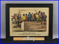 Antique 1887 Black Americana Currier & Ives Trial by Jury the Verdict Lithograph