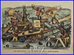 Antique 1889 Currier & Ives Black Americana Lithograph The Darktown Fire Brigade