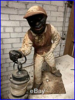 Antique 1890s 1920s Era Cast Iron Black Americana LEGEND OF JOCKO Lawn Jockey