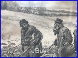 Antique 1891 AB Frost Black Americana African American Musicians SIGNED PRINT