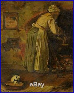 Antique 1899 O/C Black Americana Oil Painting, The Fortune Teller, Gilt Frame