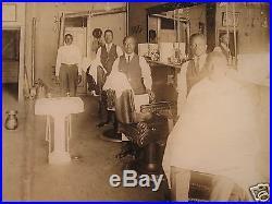 Antique 1920 African American Barbershop Cut Shave Chair Folk Art Frame Photo