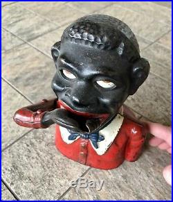 Antique 1920 John Harper Jolly N Black Americana Cast Iron Mechanical Coin Bank