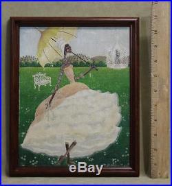 Antique 1948 Black Americana Folk Art New Orleans Wedding Oil Painting NR