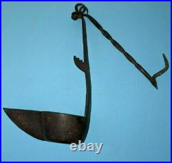 Antique 19th C 1800s Iron Betty Whale Oil Grease Post Lamp Lantern