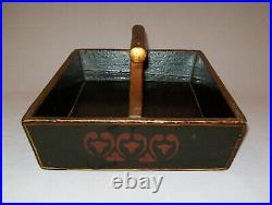 Antique 19th C 1830s Wooden Knife Box Gold Hearts Stenciled on Black Square Nail