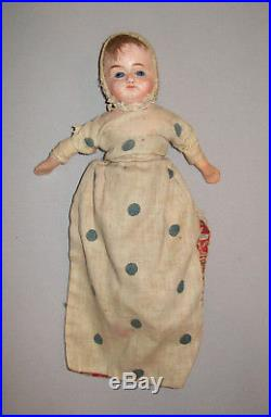 Antique 19th C 1880s Composition Topsy Turvy Doll Glass Eyes 13 All Original