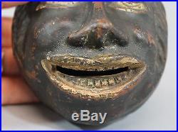 Antique 19thC American Black Americana Folk Art, Redware Bank, Blackmans Head