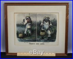 Antique 19thC Currier & Ives Black Americana Eel Fishing Print, Profit & Loss NR