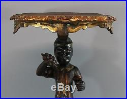 Antique 19thC Victorian Hand Carved & Painted Blackamore Table Stand, NR