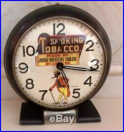 Antique Advertising Black Americana Smoking Tobacco Alarm Clockdatedrare