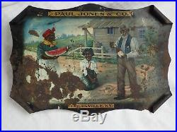 Antique Advertising Paul Jones Whiskey Black Americana Rolled Tin Metal Sign