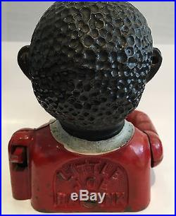 Antique African American Americana Folk Cast Iron Bank 1900s Made in England