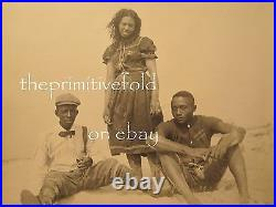 Antique African American Rare Ny Beach Scene 1899 Victorian Swimsuits Old Photo