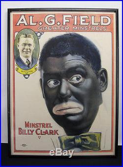 Antique Al G Field Greater Minstrels Show Black Americana Billy Clark Poster yqz