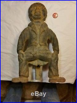 Antique Americana Andirons Butler Black Moses Fire Dogs